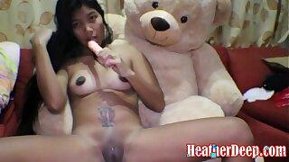 HEATHERDEEP.COM 16 week pregnant thai teen heather deep dido creamy squirt alone in the living room