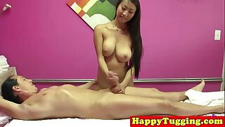 Real asian masseuse toying dick