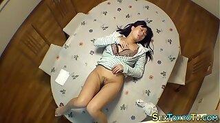 Asian babe riding dildo